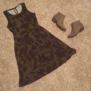 NWT Loft Dress. Olive Green and Black Floral